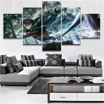 Cool Attack on Titan 5 Piece HD Print Large Custom Made  Anime Paintings on Canvas Wall Art for Home Decorations Wall Decor AT_90_11
