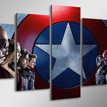 5 Panel Movie Avengers Civil War Wall Art Picture Living Room Canvas Print