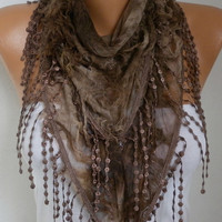 Brown Ombre Butterfly Scarf Spring Summer Scarf Mother's Day Gift Fringe Scarf Cowl Scarf Gift Ideas For Her Women's Fashion Accessories