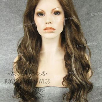 """24"""" Synthetic Lace Front with Wave Texture in Brown with Platinum Highlights"""