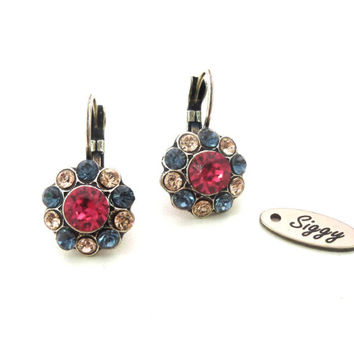Victorian style, Daisy Flower Swarovski crystal earrings, hot pink, denim blue and silk, multi-stone, Siggy crystal earrings