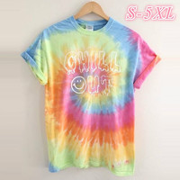 Women's Fashion Tie Dye T shirt Letter Print Casual Top S xxxxxl Wqd0727