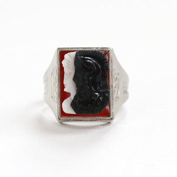 Antique 10k White Gold Cameo Ring - Vintage 1920s Ostby and Barton OB Art Deco Brown White & Black Sardonyx Soldier with Lady Fine Jewelry