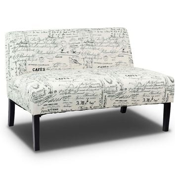 Costway Fabric Settee Armless Loveseat/Sofa