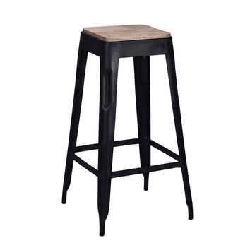 Tolix Style Bar Stool Black - Iron with Wooden Seat - Reproduction   GFURN