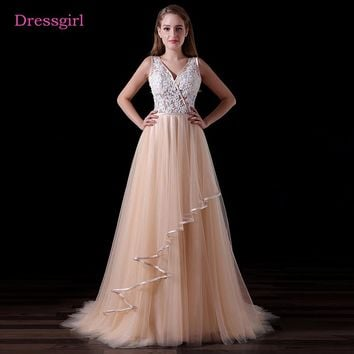Champagne 2018 Prom Dresses A-line V-neck Tulle Lace Pearls Backless Long Women Prom Gown Evening Dresses Robe De Soiree