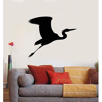 Vinyl Wall Decal Flying Bird Stork Silhouette Home Room Decor Stickers Mural (g1073)