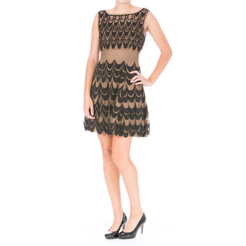 Catherine Malandrino Womens Tulle Embroidered Party Dress