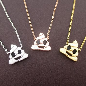 Pile of Poo Poop Emoji Pendant Necklace in Silver Gold or Rose Gold