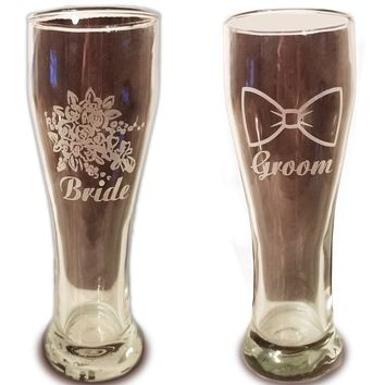 Laser Engraved Bride and Groom Glasses - 15 oz Pilsner Beer Glasses - Wedding Toasting Set of 2 - Couples Gifts - Engagement Gift - Original Wedding Gifts - Custom Wedding