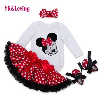 Cotton Fashion Baby Girl Clothes Sets white Long Sleeve Romper Dot Tutu Skirts with Bo
