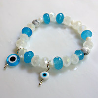 Evil Eye Blue & White Eye Charms with Wedding White Crystals Blue Fancy Cut Jade and Beach Shell Beaded Stretch Bracelet Glass by Mei Faith