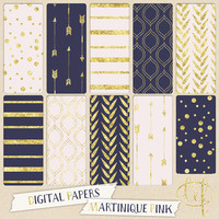 Navy blue and pink Digital papers with arrows, stripes, dots confetti in martinique and pink for digital scrapbooking cards, invites tribal