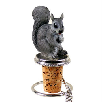 Squirrel Bottle Stopper - Gray
