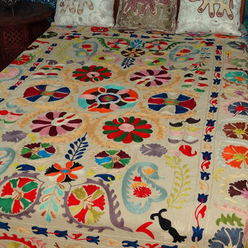 Suzani Wall Hanging Suzani Bedspread Suzani Throw Suzani Tapestry Twin Suzani Blanket Fabric Handmade Indian Suzani Bedding Wallhanging