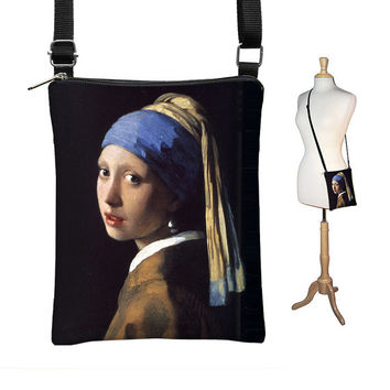 SALE Sling Bag Shoulder Purse, Girl with a Pearl Earring Cross Body Bag Small Travel Purse Zipper fits eReaders zipper pocket blue black MTO