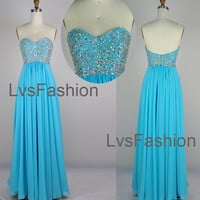 Strapless Sweetheart Beading Chiffon Blue Prom Dresses Party Dress, Evening Dress, Wedding Party Dress, Bridesmaid Dress,