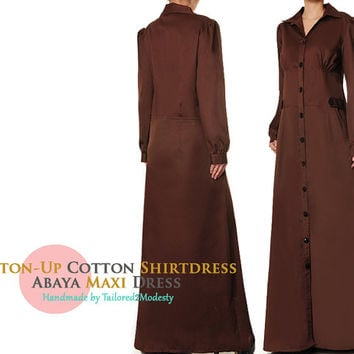 Dark Brown Button Up Cotton Shirtdress Long Sleeved Abaya Maxi Dress - Size M/L 0908