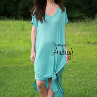 Nile Blue Short Sleeve TShirt Maxi Dress with Side Pockets and Slits