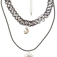 Celestial Tattoo Choker Necklace by Charlotte Russe - Black