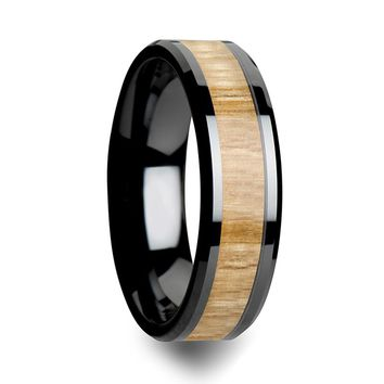 Black Ceramic Wedding Band With Real Ash Wood inlay Beveled Edges 6mm - 10mm