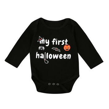 Halloween Pumpkin Printed Baby Clothes Newborn Infant Boy Girl Long Sleeve Romper Jumpsuit Clothes ping