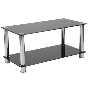 LMFON Riverside Collection Coffee Table with Shelves and Metal Frame