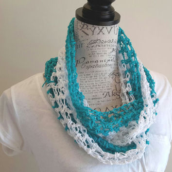 crochet light Infinity scarf. turquoise and white gkittle color cowl. Made by Bead Gs on Etsy.