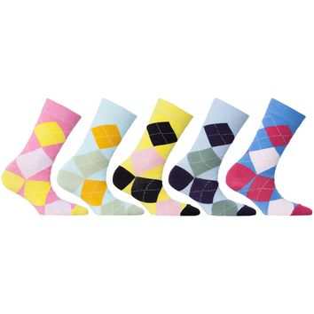 Womens 5-Pair Colorful Argyle Crew Socks - 6042