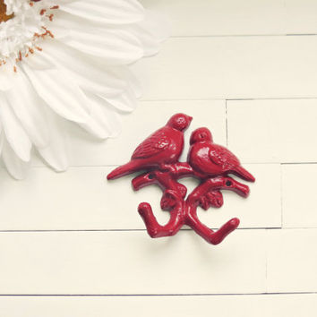 Red Metal Wall Hook / Bird Decor / Wall Hanging / Cast Iron Hooks / Love Birds / Red / Home Decor