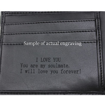Engraved Wallet, Man Leather Wallet, Personalized Gifts for Friends, Father, Husband,  Groomsman