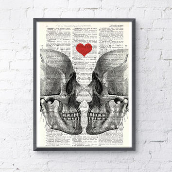 Wall art Skull book print -Death means nothing to us - Love Dictionary Book Page Print -Gift him, wall art gift husband,  love wall art