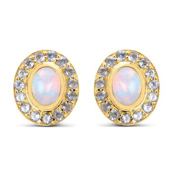 Genuine Ethiopian Opal and Tanzanite 14kt gold-plated .925 Sterling Silver Post Earrings