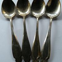 Set of 4 Vintage Heirloom Silver Plate Serving Spoons - Pattern Cardinal
