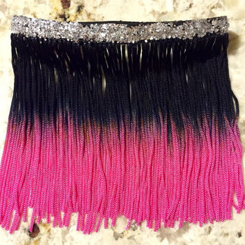 Ombre black to pink & silver glitter fringe arm cuff - custom made - festival style