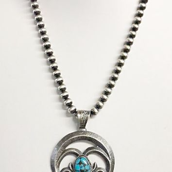 Sunwest Jewelry~ Tufa Cast Naja w/ Egyptian Turquoise Necklace