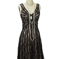 Gatsby Dresses-Black Lace 20s Inspired Dress