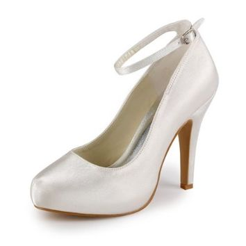 Jia Jia Women¡¯s Ladies Prom Bridal Wedding Shoes Size Women's Satin Cone Heel Closed Toe Platform Pumps With Buckle