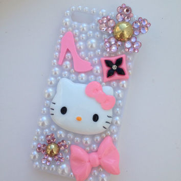 Pink Barbie Kitty Bling Flower Petals Sparkly Cosmetics iPhone 5 Protective Cell Phone Case Cover