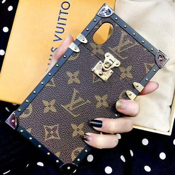 Louis Vuitton LV Monogram Leather Women Men Protective Cover Phone Case Coffee