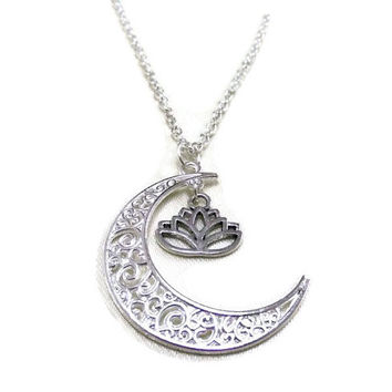 Silver Moon and Lotus Necklace, Crescent Moon Necklace, Celestial Necklace, Lotus Flower Necklace, Moon and Flower Necklace, Boho Necklace