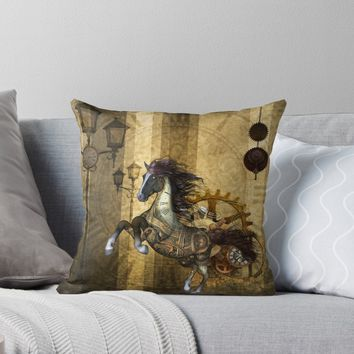 'Awesome steampunk horse, clocks and gears in golden colors' Throw Pillow by nicky2342