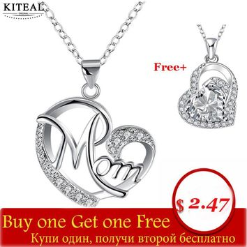 Buy one get one free Love Mom Xmas Gift Great Mama Heart Pendant Necklace Silver Plated Jewelry 925 stamp Mother MUM Letters