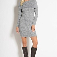 Warm Welcome Sweater Dress -Grey -