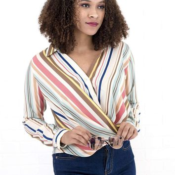 Women's Striped Button Down Shirt with Collar and Tucked Hem