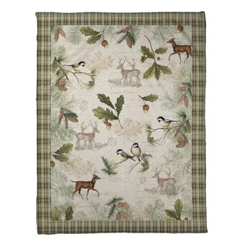 Woodland Forest Fleece Throw