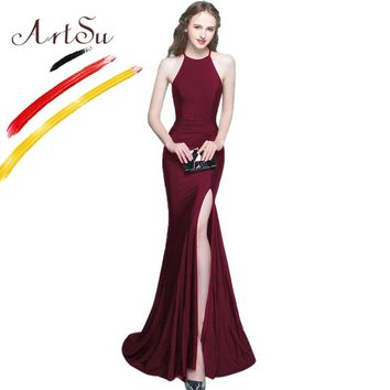 ArtSu Robe De Soiree Black Long Mermaid Party Dress Elegant Halter Wrap Floor-Length Maxi Dress Vestidos Sexy Split White Dress
