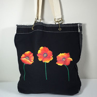 Purse Tote Authentic Pigment Raw Edge in Black with Hand Painted Poppies