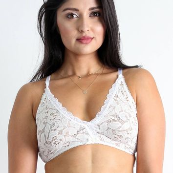 Camilla Easy Fit Lace Bralette in White - Only a few left!