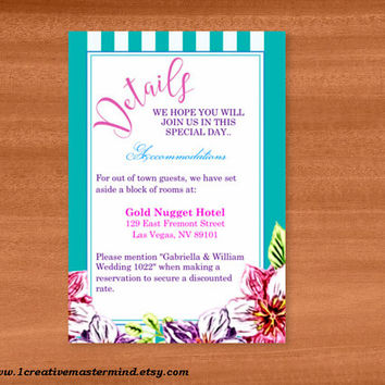 DIY Wedding Template detail card, Instant Download, Editable PDF, Printable, Digital, Floral with Teal and White Stripes #1CM80-2